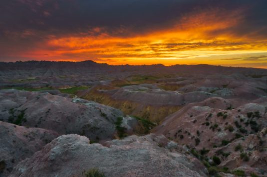 Sunset Over Badlands Yellow Mounds