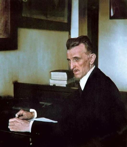 RARE COLOR PHOTO OF NIKOLA TESLA